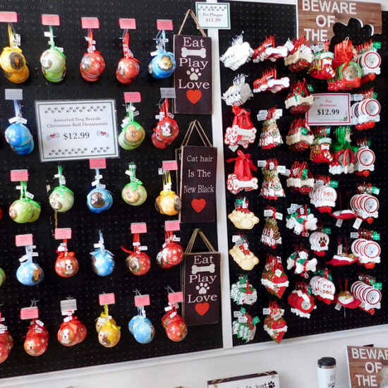Assortment of Dog ornaments hanging on the wall
